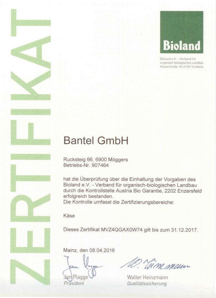 Bantel - Bioland Zertifikate
