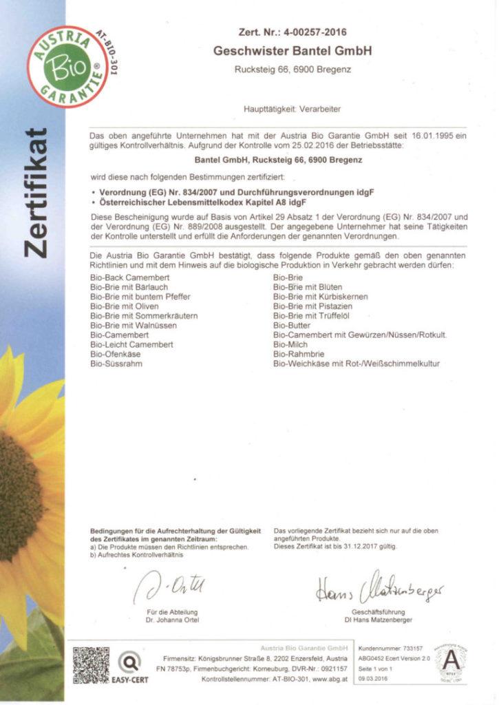 Bantel Zertifikate - Austria Bio Siegel